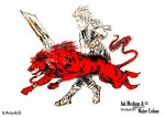 cloud strife and red xiii by blackbeat