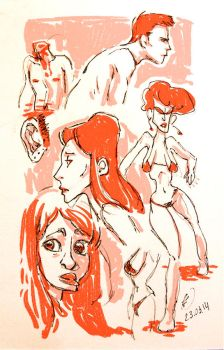 Red Head Sketch by Makoto4bidden
