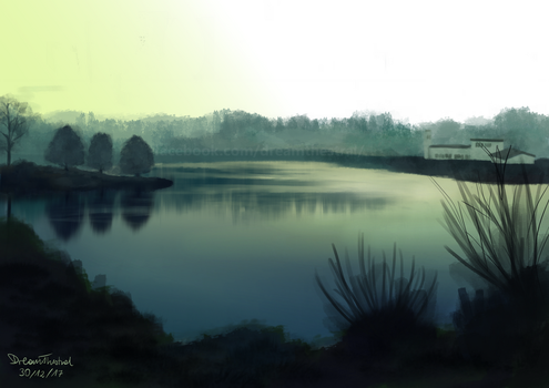 Misty lake by DreamThestral