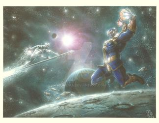 S. Surfer vs Thanos by andrema