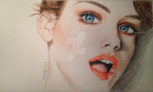 Portrait drawing of beautiful Barbara Palvin by Sherlody