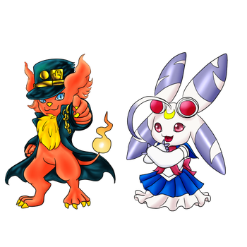 DS: Collab Halloween Digimones by kittyshadow