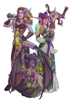 Commission - Druid, Shaman, and Demon Hunter by bylacey