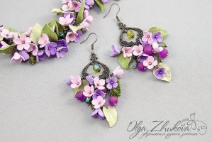 Bracelet and earrings with flowers by polyflowers