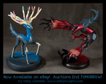 Xerneas and Yveltal : Auctions Ending Tomorrow by emilySculpts
