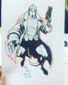 Batman Day Hellboy Sketch by LucianoVecchio