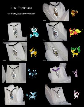 'Eevee Evolutions' sterling silver pendants by seralune