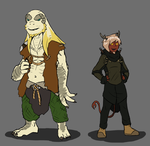 Dragonborn and Tiefling by ScottaHemi