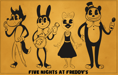 FNAF x BATIM - The Animal Band by Atlas-White