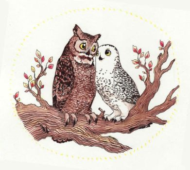 Inktober #02 - Owls in Love by Penguinity