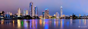 Gold Coast City Skyline Night Panorama by Furiousxr