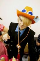 Ace's hat in Sanji's head X3 by Rens-twin