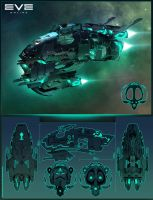 EVE Online concept spaceship by 55eba55tian