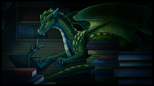 Commission - Bookwyrm by Petuniabubbles