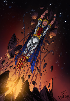 Mighty Titan pinup color by PeterPalmiotti