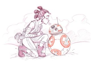 Rey and BB-8 by briannacherrygarcia