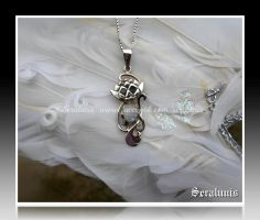 'Water lily', handmade sterling silver pendant by seralune