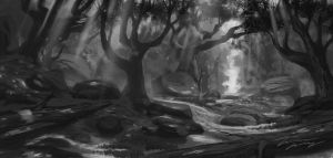 Forest feild value sketch by RavenseyeTravisLacey