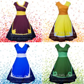 Four Avatar Nations Printed Cosplay Wrap Dresses by DarlingArmy