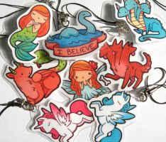 Laminated Mythical Charms by michellescribbles