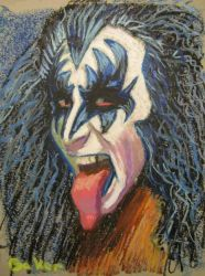 Gene Simmons KISS oil pastel 11 by 17 by loubaker92164