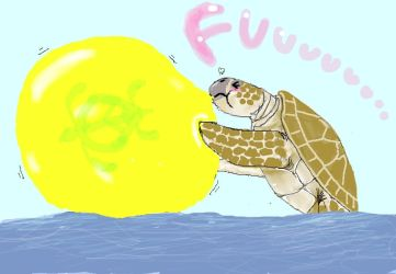 MARKS the sea turtle blowing balloon by ahori