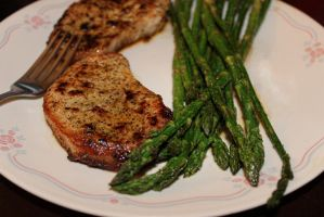 Pork Chops and Asparagus by WiccanWT