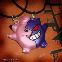 Pokemon - Clefairy and Gengar Friendship Necklaces by YellerCrakka
