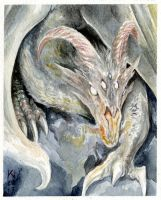 Dragon watercolour postcard by Kaos-Nest