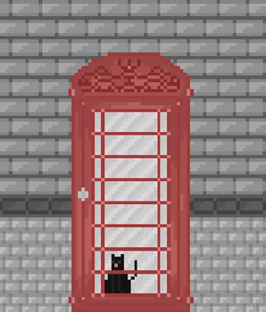 Cat in a telephone booth by Grigoreen