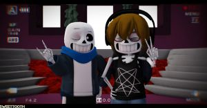 {MMD x Undertale OCs}~Me and cjc728 by sweettooth2220