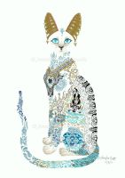 SOLD - Asian Porcelain Cat by JenniferAnneEsposito