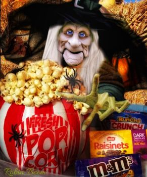 Witch and her popcorn by Laughingbird11