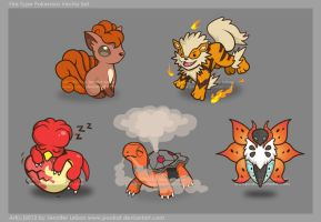Fire Pokemon Vector Set