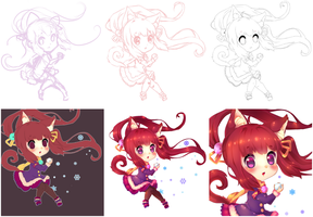 Watch Out~! - Chibi STEP BY STEP PROCESS by Juliichi
