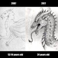 Then vs now: dragons by xHideFromTheSunx