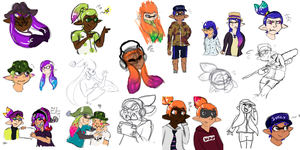Squid Hell - sketches by ThatCreativeCat