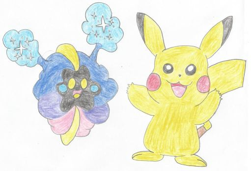 Pikachu and Nebby by Lazbro64