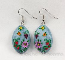 Summer Fruits Polymer Clay Appliqued Earrings by DeidreDreams
