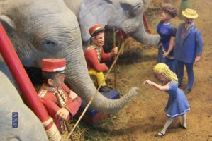 Little girl Feeding an Elephant at the Circus by Crigger