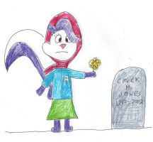 Fifi at Chuck Jones' grave by dth1971