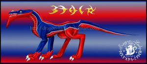 Blue-Red Beau Dragon by CrystalJoy-Creations