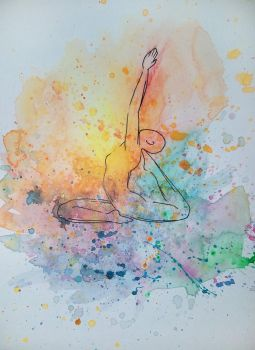 Watercolor Splash Yoga Pose (Series 4 of 4) by TheMajesticCarnival