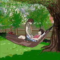 Duo and Heero in a hammock by kracken