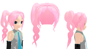 MMD - Twisty Pink Side Ponytail + Download by Aira-Melody