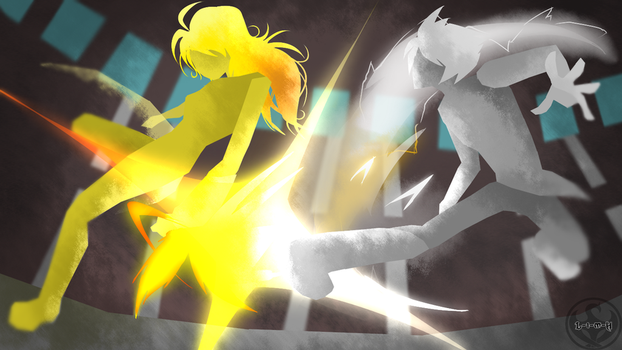 World of Remnant style Yang vs. Mercury by Lightning-in-my-Hand
