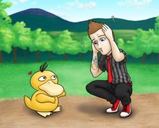 Tre Cool vs Psyduck by kelly42fox
