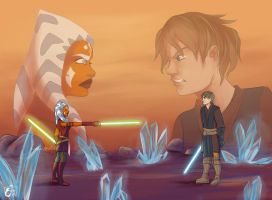 Anakin x Ahsoka - Early dual of the fates by RevanRayWan
