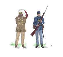 Indian and Union Soldier (colored) by electronicdave