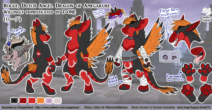 Rogue the Dutch angel dragon final reference sheet by RogueOfAmegakure